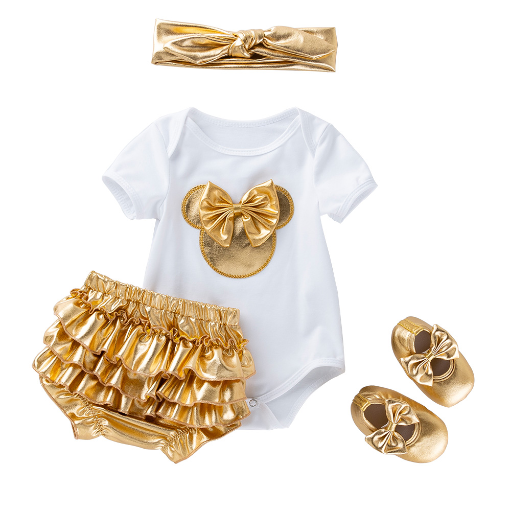 2020 New Baby Girl Clothes White Cotton Rompers And Golden Ruffles Baby Girls Tutu Skirt Shoes Headband Newborn Sets