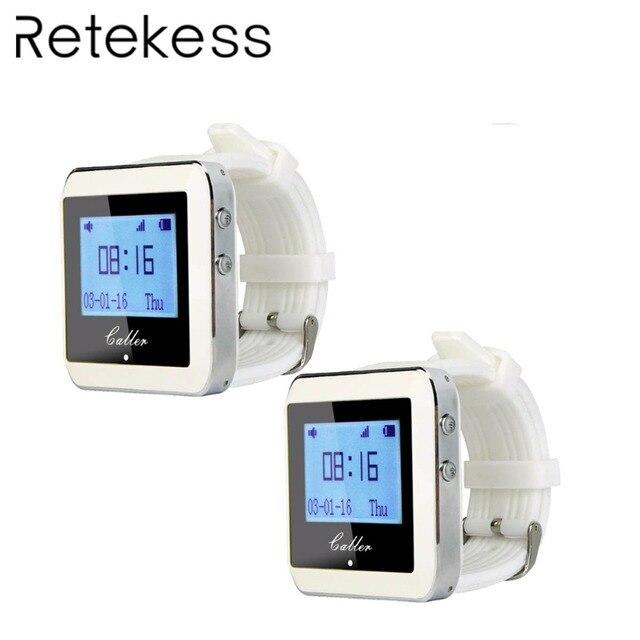 2 шт. RETEKESS 999 канала РФ беспроводной Белый ресивер наручные часы для магазин фастфуда Ресторан Вызов подкачки системы 433 МГц