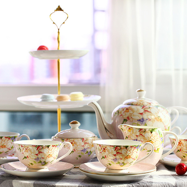 22 Pcs Set Fl Coffee Cup Bone China Afternoon Tea Gift