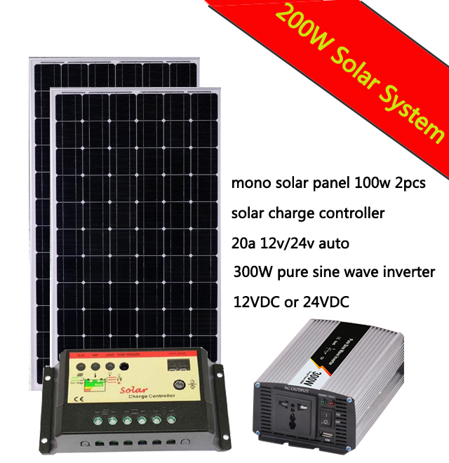 COMPLETE Solar KIT <font><b>200</b></font> W Watt 200W Solar Panel 300W <font><b>Inverter</b></font> 20A solar charge controller 12V RV Boat Off Grid image