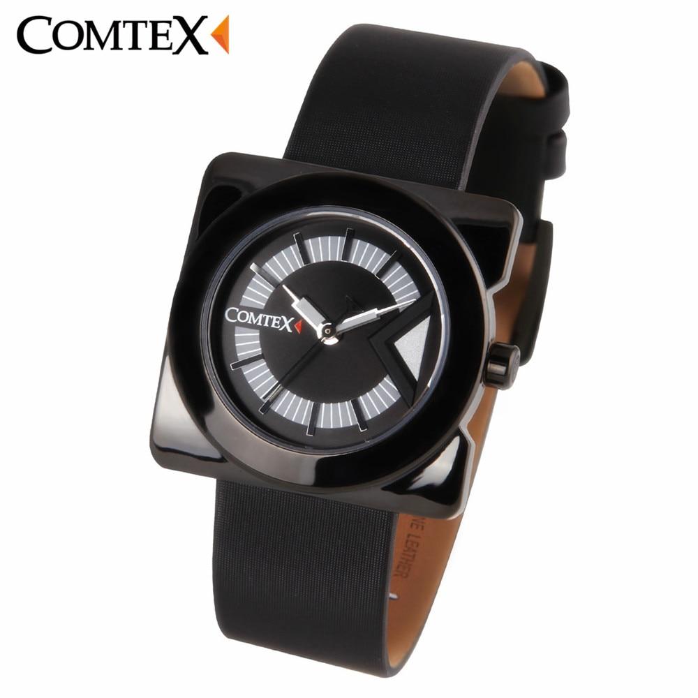 COMTEX  Brand New Women Watch Fashion Causal Leather Wristwatch Black White Quartz Waterproof  Reloj  Dress For ladies Clock