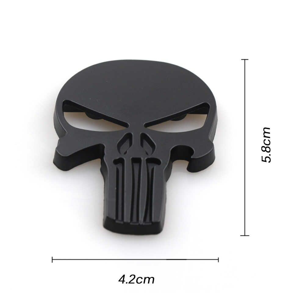 1 piezas de Metal 3D para coche, diseño de la insignia del emblema del cráneo del castigador, accesorios del coche, logotipo de automóviles, insignia de Metal, calcomanías del emblema del coche