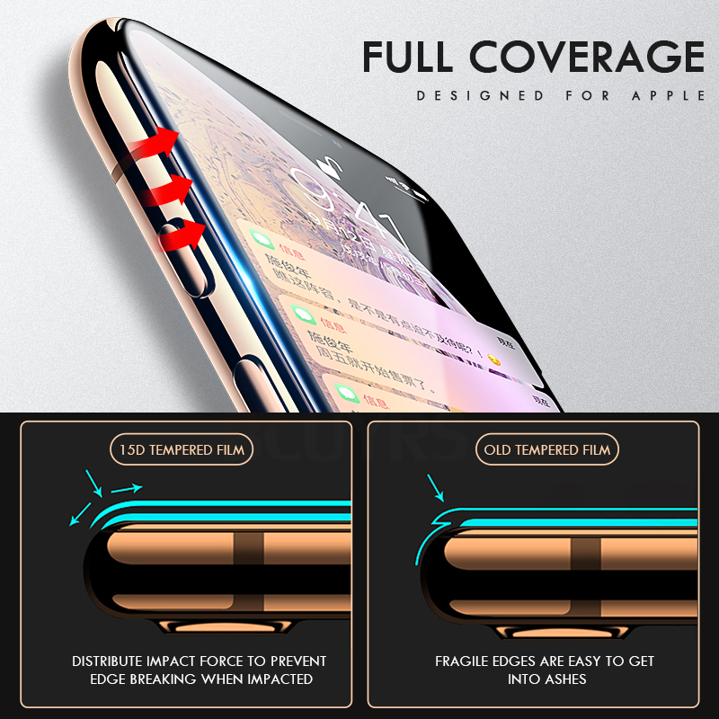 2-1 PCS 15D Curved Edge Protective Glass For iPhone 8 X XS Max XR Tempered Glass For iPhone 6 6S 7 8 Plus Screen Protector Film