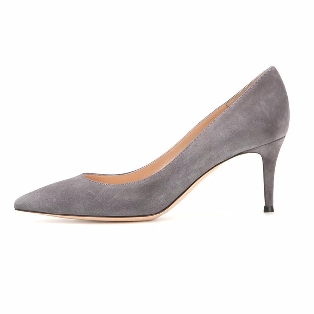 AIWEIYi Women Shoes Med Heels 6.5CM Black Grey Pumps Kitten Heels Shoes For Women  Ladies Wedding Party Shoes Platform Heels 00cf6165b4c9