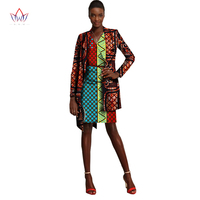 2019 African Skirt Set for Women V Neck three pieces Dashiki Skirt Blouse and coat Design a suit Cotton Clothing 6xl WY1145