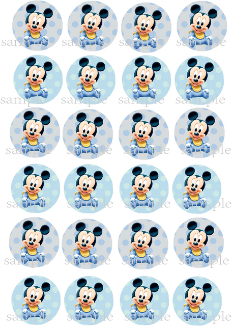 24 Bebes Mickey Mouse Comestible Pastel Topper Wafer Arroz Papel