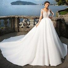 Элегантное арабское свадебное платье с длинными рукавами, бальное платье, платья невесты Vestido de Noiva Princesa, атласные свадебные платья шампанского