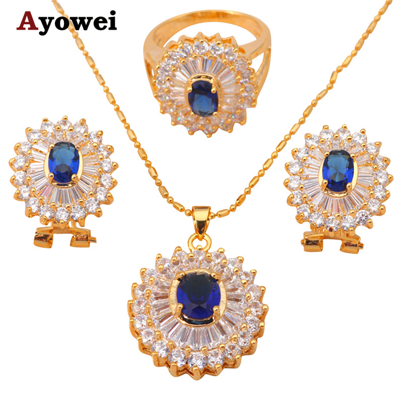 yellow gold tone Necklaces Pendants Zircon Earrings Crystal Sets jewelry Zirconia Fashion jewelry Ring sz