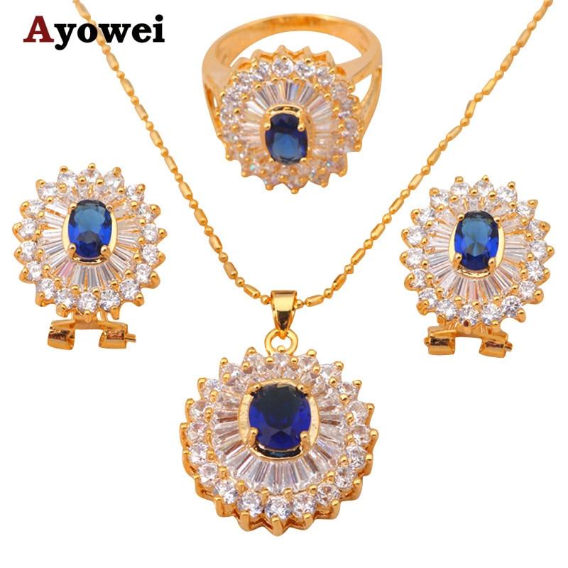 žluté zlato tón náhrdelníky a přívěsky zirkonové náušnice křišťálové sady šperky zirkonie módní šperky prsten sz # 7 # 5.5 JS182A
