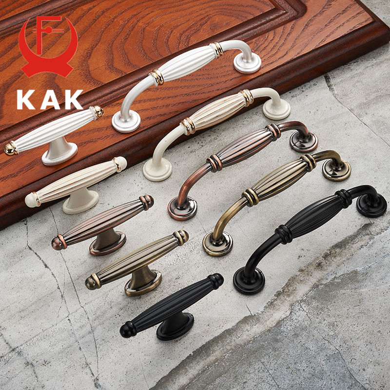 KAK European Style Solid Zinc Alloy Cabinet Handles Modern Vintage Drawer Knobs Cupboard Wardrobe Door Handles Furniture Handles vintage furniture handles cabinet knobs and handles zinc alloy cupboard handles drawer wardrobe pull handles furniture fittings