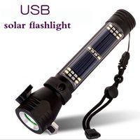 Multi function emergency outdoor Solar energy flashlight with safety hammer alarm