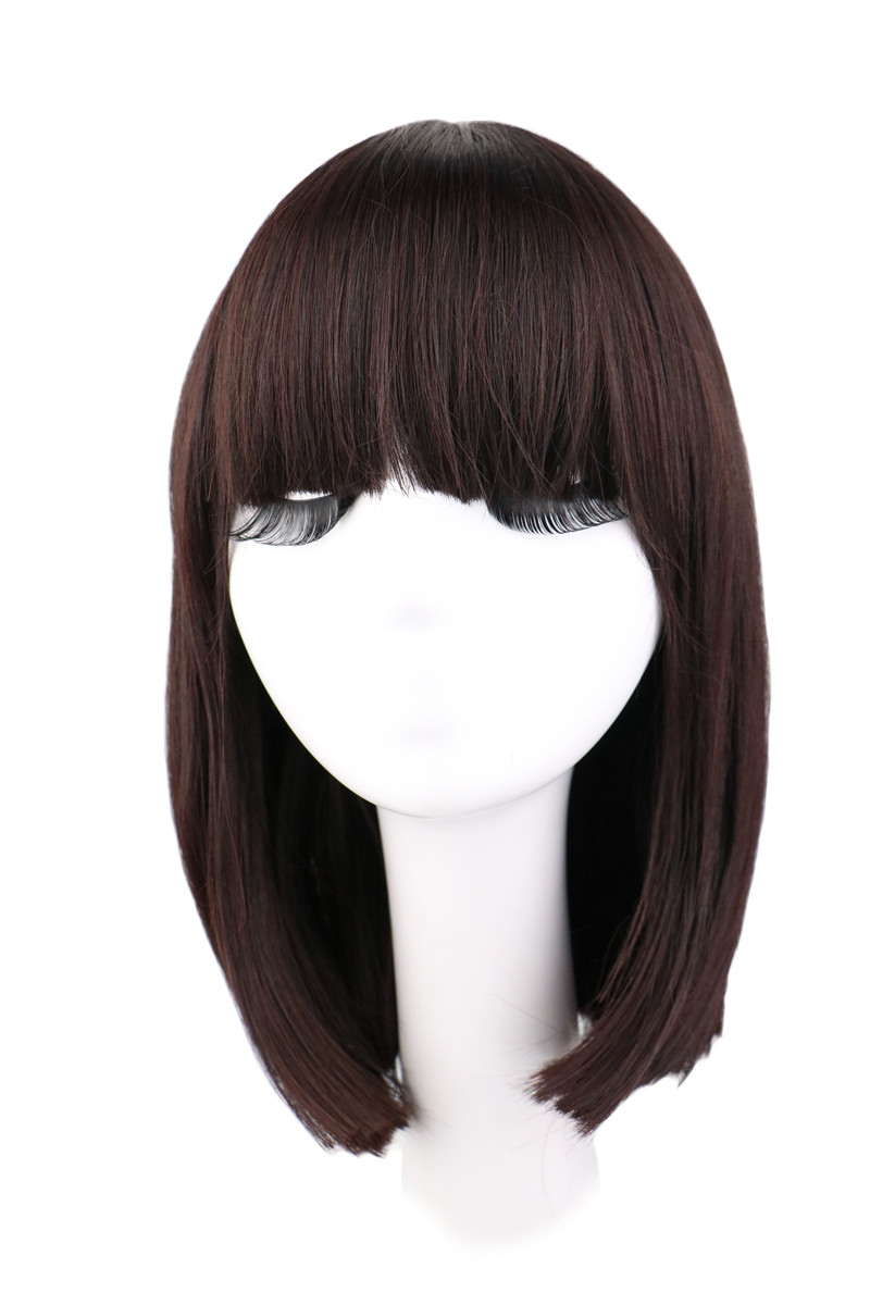 QQXCAIW Short Straight Natrual Wig Women Black Dark Brown Synthetic Hair Wigs