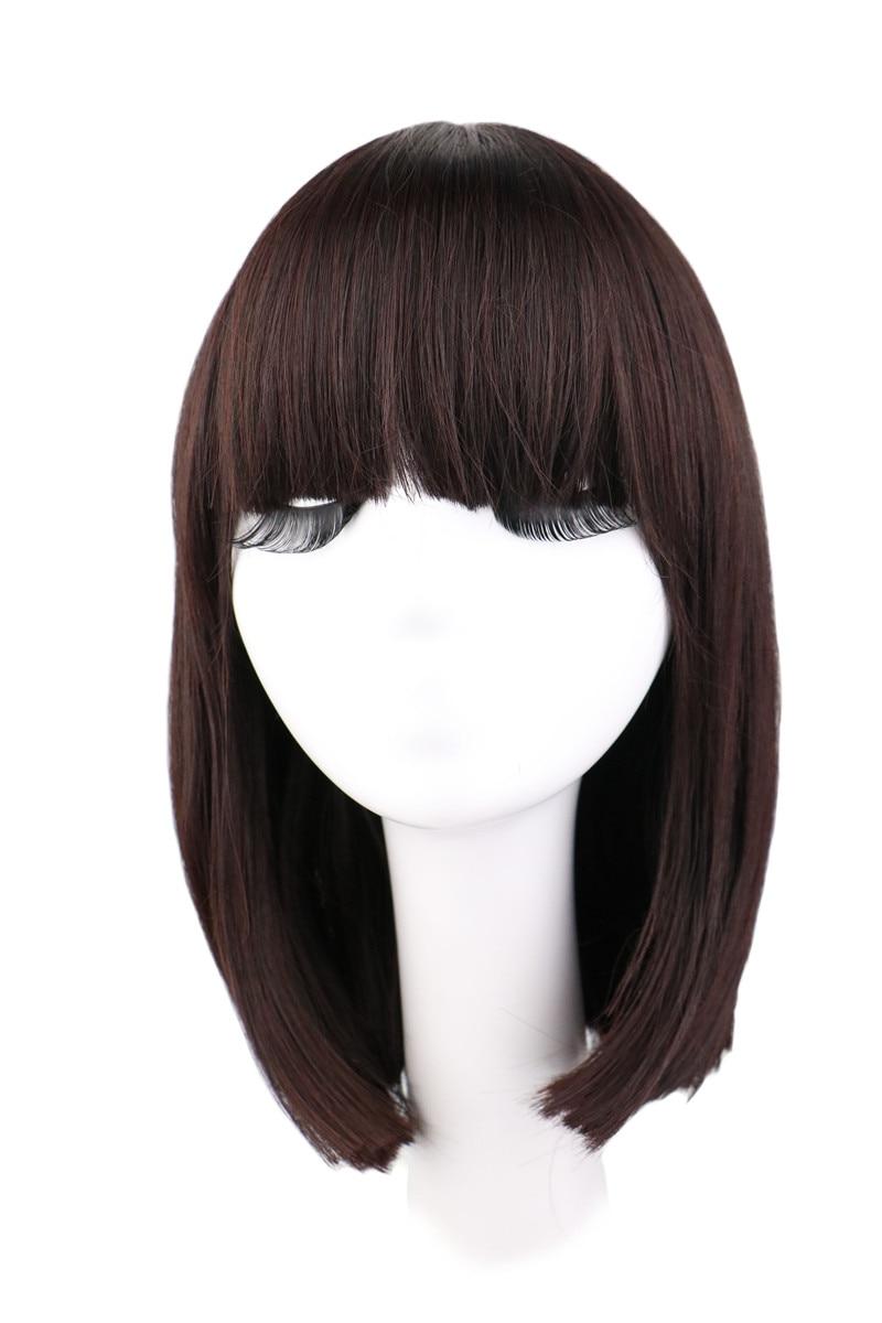 QQXCAIW Short Straight Natrual Wig Women Black Dark Brown Synthetic Hair Wigs