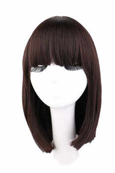 QQXCAIW Short Straight Natrual Wig Women Black Dark Brown Synthetic Hair Wigs - DISCOUNT ITEM  24% OFF All Category