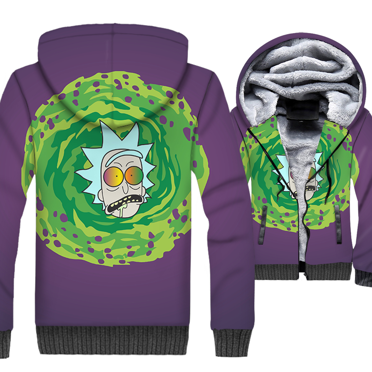 Rick and Morty 3D Print Hoodie Men Funny Sweatshirt Mens Winter Thick Fleece Warm Zip up Coat Science Cool Jacket Brand Clothing