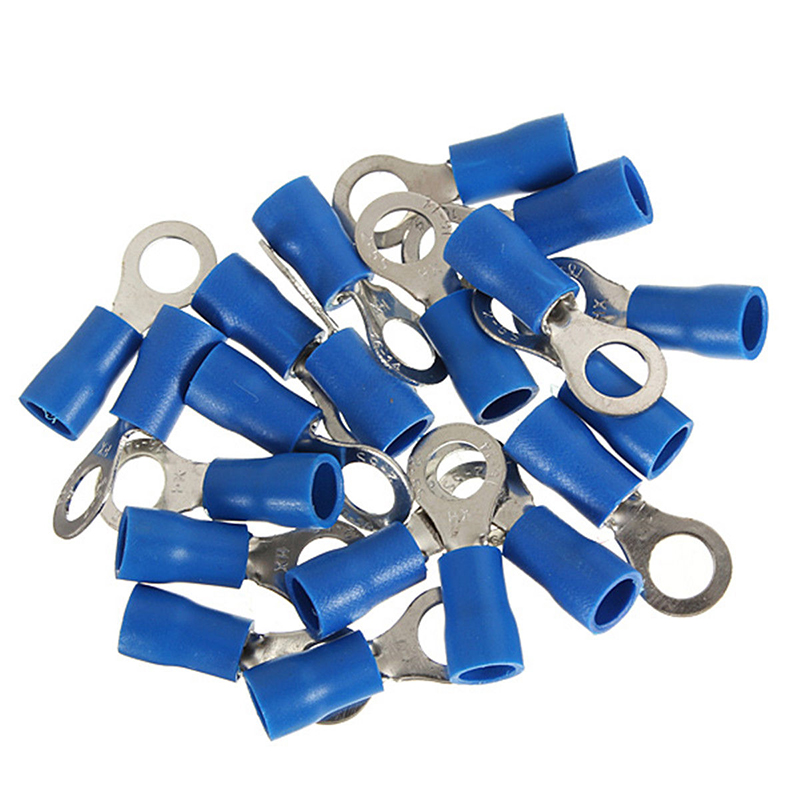 20pcs Ring Ground Insulated Wire Connector Electrical Crimp Terminal 14-16AWG M5 15pcs a w g 14 6 copper cable lug tube wire crimp terminal ring connector 88a
