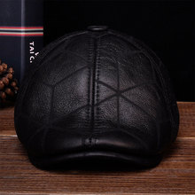 HL113 2018 Men beret newsboy ear Flap caps hats with real wool fur inside real leather baseball cap hat цена