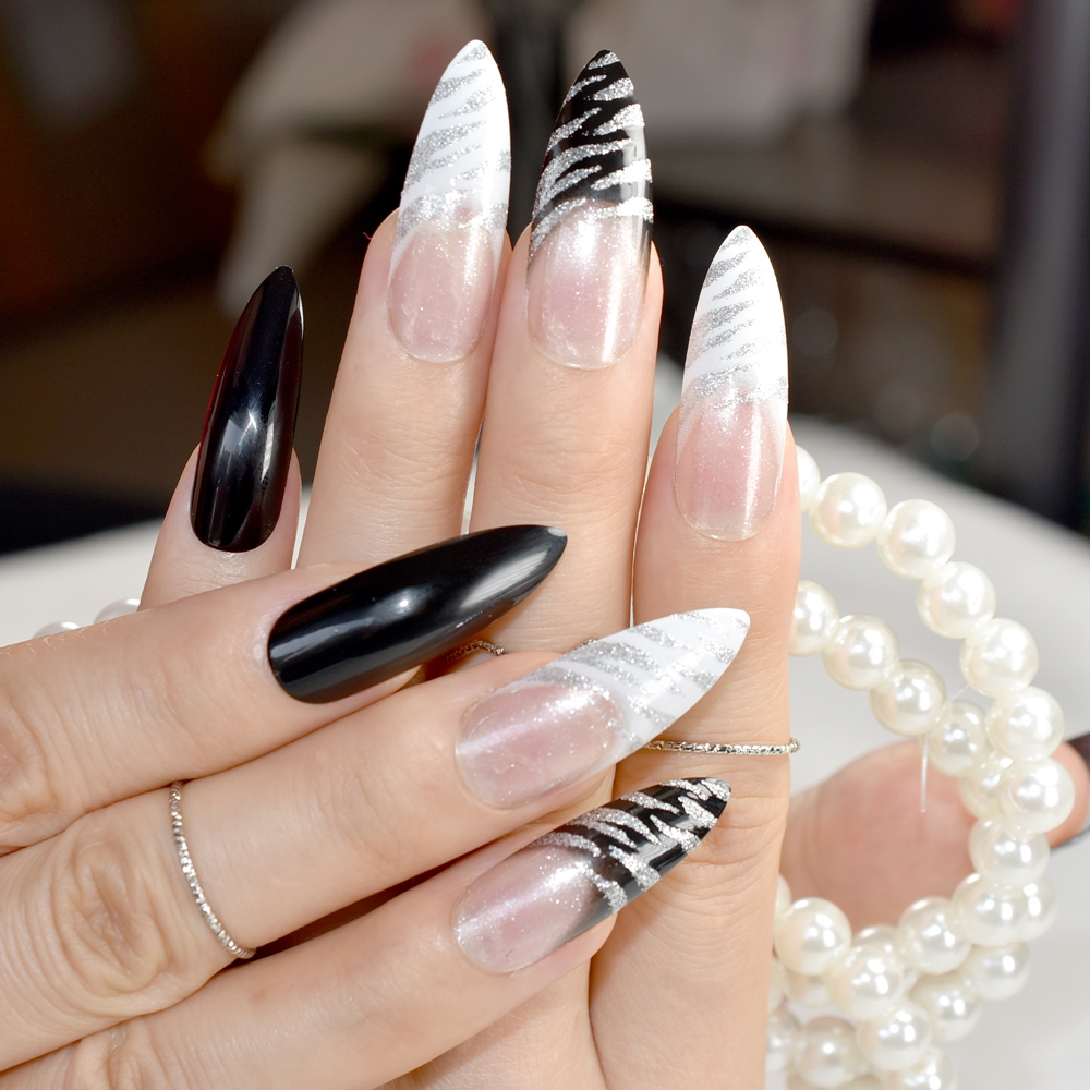 Extra Long Pointed Pre-designed Nails Black White Zebra Bent Press On Nails Long French Nails Including Glue Sticker
