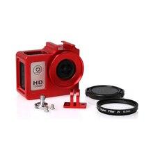 Sjcam sj4000 caixa de liga de metal habitação gaiola escudo + len filtro uv para sjcam sj4000 sj6000 sj6000 sj 4000 câmera wi fi acessórios