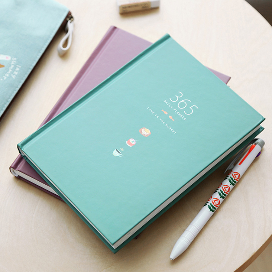 1PC 365 days personal diary planner hardcover notebook diary office weekly schedule cute korean stationery 365 days personal diary planner hardcover notebook diary office weekly schedule cute stationery light blue