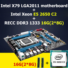 HUANAN X79 carte mère CPU combos Intel X79 LGA 2011 carte mère avec CPU Xeon E5 2650 C2 SROKQ (2*8G) 16G DDR3 REG ECC