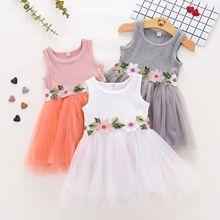 Flower Baby Dress 2019 New Summer Sleeveless Baby Girls Clot