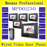 Hot Sale Touch Key SmartHome Black 7Inch TFT LCD Screen Video Intercom Phone One To Five