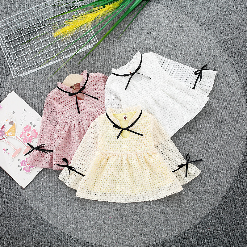0-3 Year Baby Girl Dresses Summer Girls Bow Breathable Dress Infant Girl Long Sleeve Mesh Dress Baby Birthday Dress Clothes