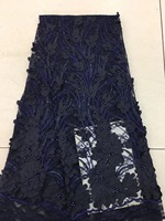 Navy Blue African Lace Fabric, Latest High Quality African 3D Lace Fabric, Lace Fabric Sequins French Tulle Lace Fabric RF25671