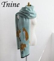 Luxury Cashmere Scarf Designer Fox Printed Women Thicken Warm Shawl Long Foulard Brand Shawls And Scarves