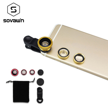 Sovawin Fisheye Lens three in 1 Common Cell Telephone Clip-on Lenses 180 Diploma Fish Eye zero.67X Extensive Angle Macro Digital camera Lens Package