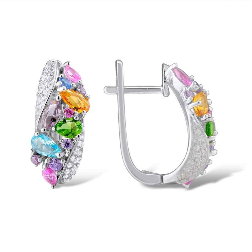 SANTUZZA כסף עגילים לנשים 925 כסף סטרלינג עגילי כסף 925 עם צבעוני טבעי אבנים brincos תכשיטים