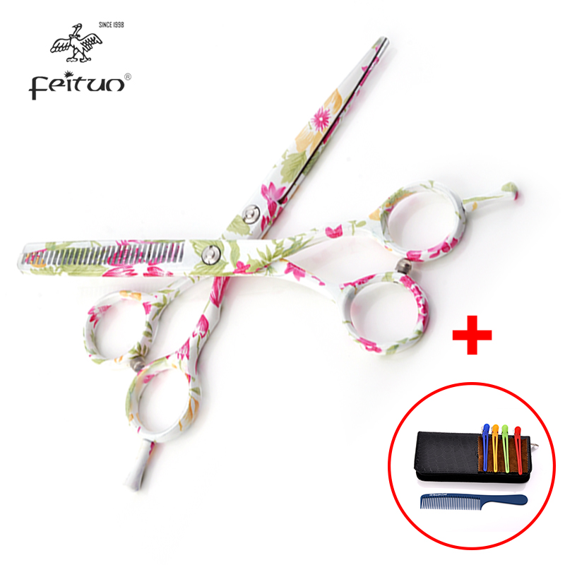 Printed Professional Hair Scissors Set 5 5 inch Flower Pattern Hairdressing Barber Salon Tesoura Thinning Shears