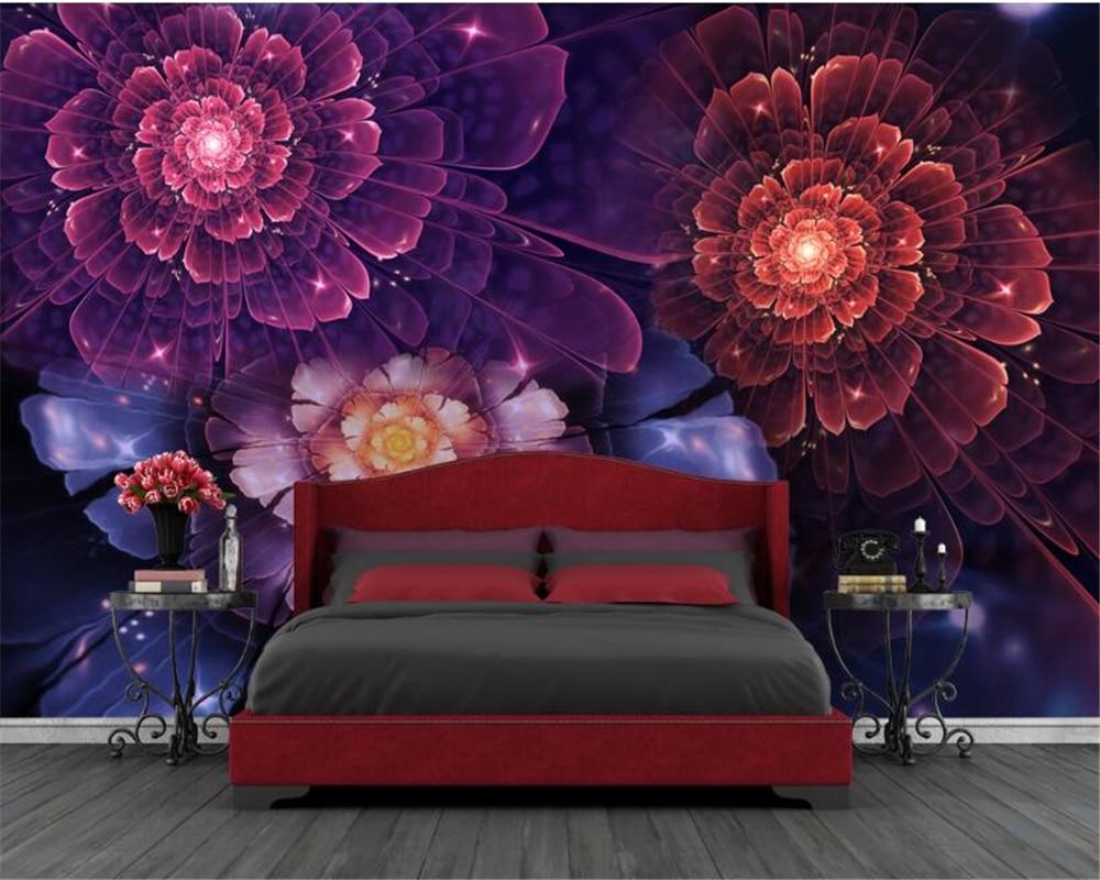 Beibehang Papel De Parede Ukuran Hd Wallpaper Bunga Cantik Biru Ungu
