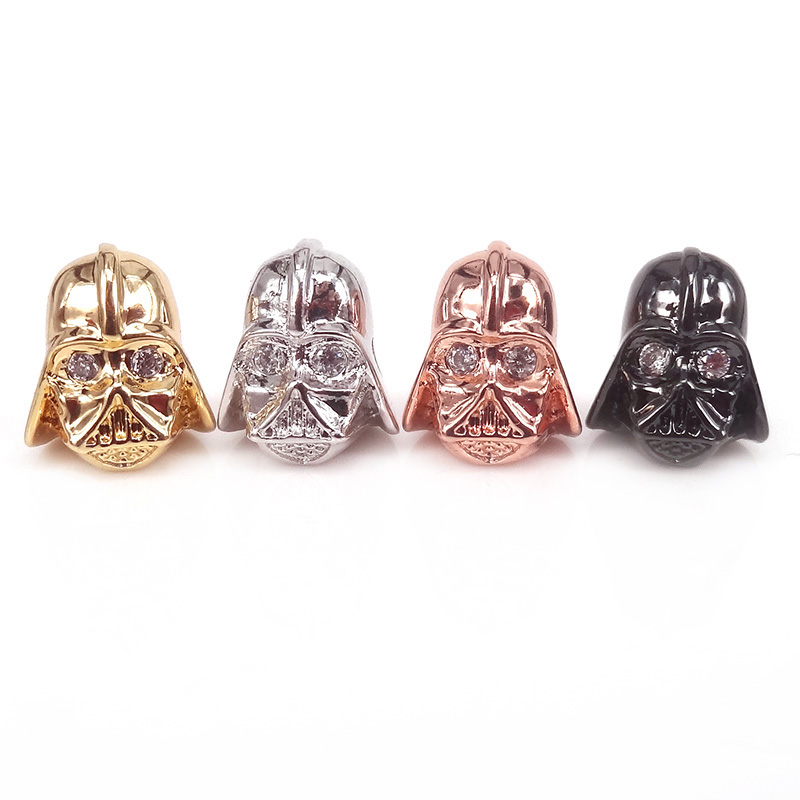 Symbol Of The Brand Micro Pave Cz Darth Vader Star Wars Beads,black Knight Metal Beads For Men Bracelet Diy,as The Force Awakens Fans Christmas Gift Bracing Up The Whole System And Strengthening It Beads