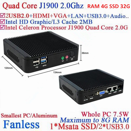 fanless embedded win7 server mini pc J1900 network quad-core 4G RAM 32G SSD build-in-wifi support