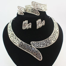 Fashion White Gold Plated Women african beads costume bridal wedding Party Rhinestone Dubai Necklace Jewelry Sets