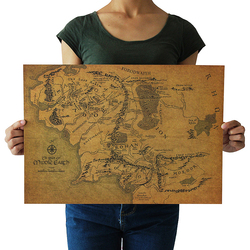 Lord Of The Rings The Hobbit Map Of Middle-earth Movie Posters Ancient Ways Map Kraft Paper Adornment Picture Wall Sticker