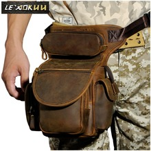 Top Quality Genuine Leather men vintage Brown Small Belt Bag Waist Pack Drop Leg Bag Horse Riding Motorcycle Outdoor Bag 3109