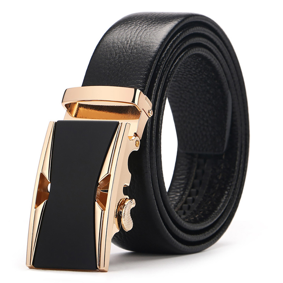 Big Size Men Belts Novelty Cow Genuine Leather Belts For Men Automatic Alloy Buckle Black Brown Color Size
