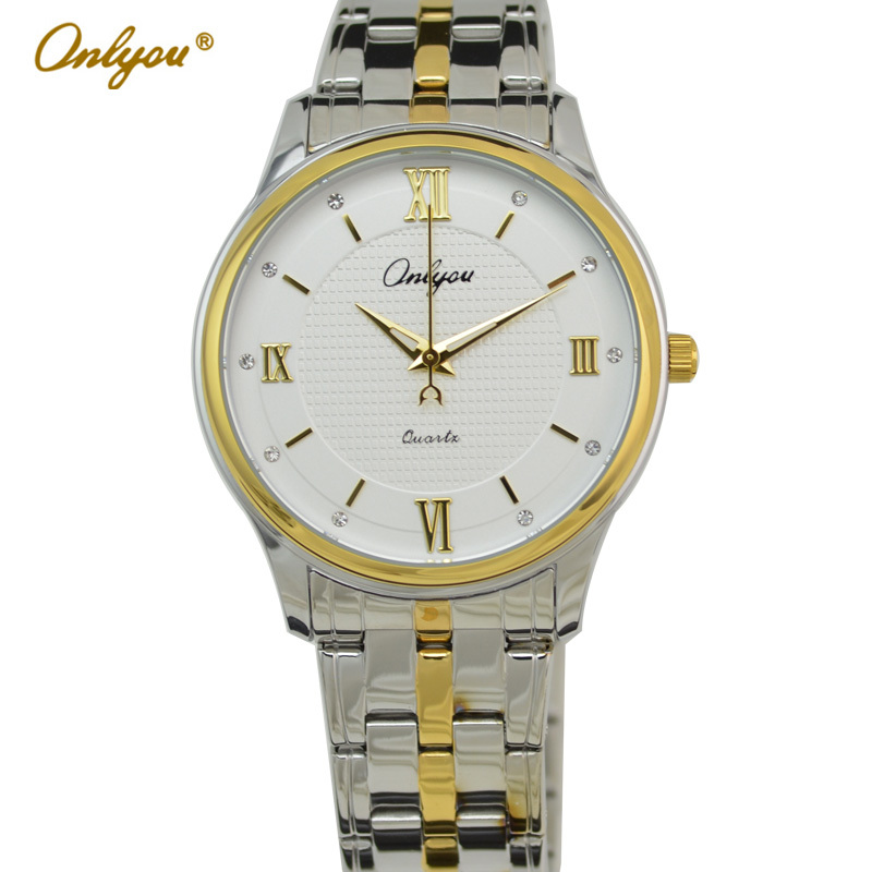 Onlyou Brand Luxury Women Men Diamond Quartz Watch Gold Stainless Steel Watchband With Date Display  Business Dress Watch 81078 weesky 1216g flower pattern diamond quartz watch with date display for men