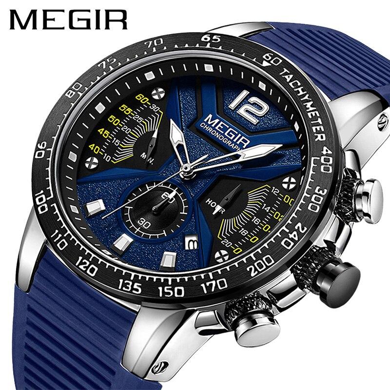 MEGIR Relogio Masculino Men Watches Silicone Sport Chronograph Quartz Military Watch Luxury Brand Zegarek Meski Erkek