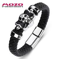 MOZO FASHION Classic Men Bracelet Black Leather Skeleton Stainless Steel Magnet Buckle Bracelet Man Sross Skull