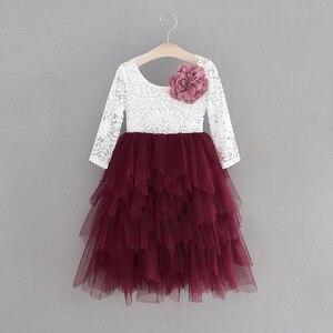 Кружевное платье для девочек длинное праздничное платье принцессы из фатина с длинными рукавами и жемчужной аппликацией одежда для детей О...