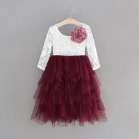 Girls Lace Dress Long Sleeve Pearl applique Tiered Tulle Gauze Long Party Princess Dress Children Clothing 1 10Y E15169