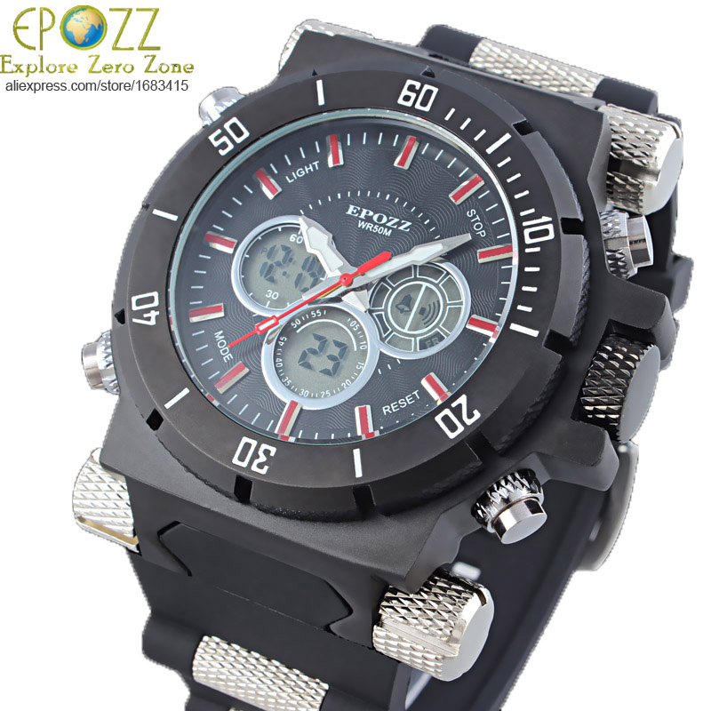 aliexpress com buy epozz cool big face watches military large aliexpress com buy epozz cool big face watches military large oversized sport watches rubber band black watches for men p2813gold from reliable watch f