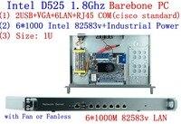 Intel D525 1U уши стойки сервер сети с 6 * Intel 8253 В 1000 м LAN Поддержка ROS PFSense Panabit wayos Barebone PC Маршрутизатор