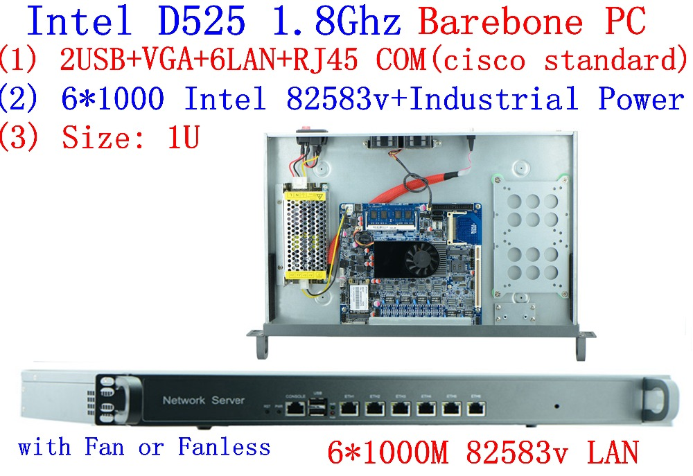 Intel D525 1U Rack Ears Network Server With 6*Intel 8253V 1000M LAN Support ROS PFSense Panabit Wayos  Barebone PC Router