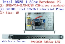 Full Gigabit multi wan router firewall with 6*82583v RJ45 Intel D525 1.8G support ROS Mikrotik PFSense Panabit Wayos Barebone PC ipsec vpn 1u firewall network router barebone pc with two sfp intel i350 six 82583v gigabit lan intel quad core i7 3770 3 4ghz