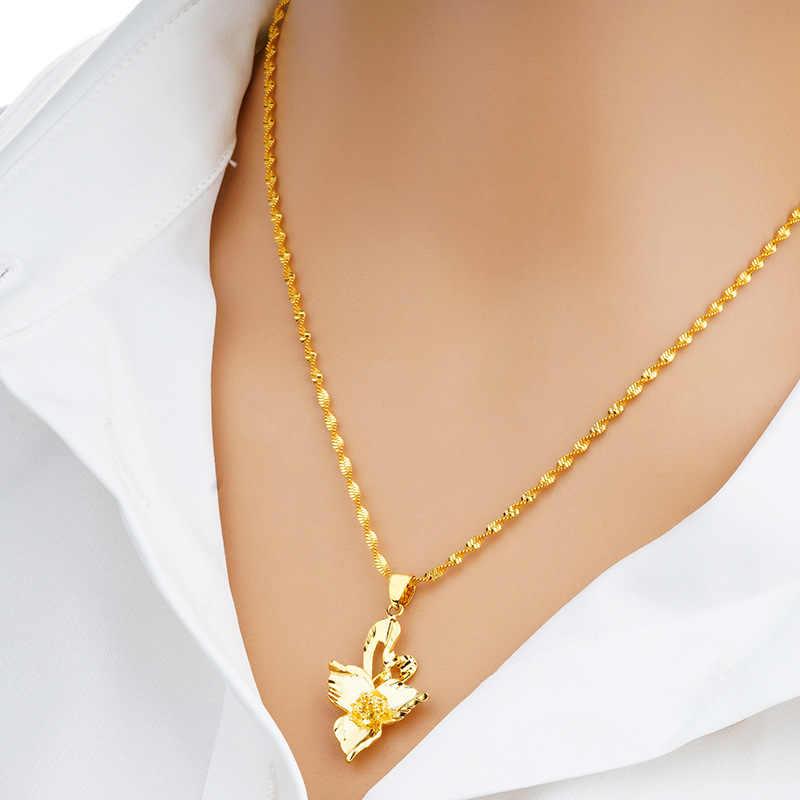 OMHXFC Atacado Europeia Moda Mulher Partido Presente de Casamento Aniversário PN143 24KT Elegante Oco Flor Charme Pingente de Ouro Real